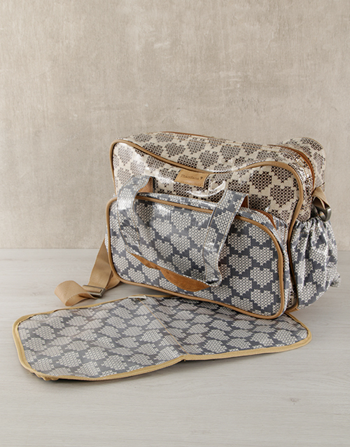 baby: Thandana Grey Heart Nappy Bag!