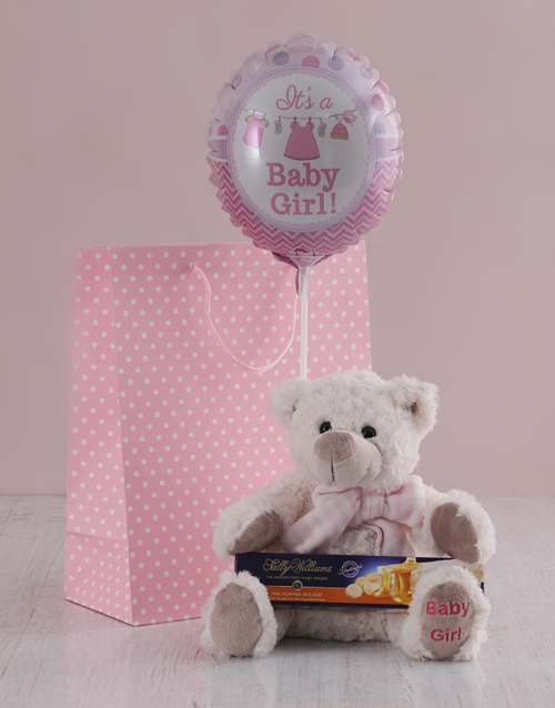 balloon: Its a Girl Teddy and Nougat Gift Hamper!