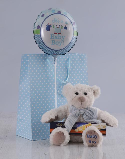 balloon: It's a Boy Teddy and Nougat Hamper!