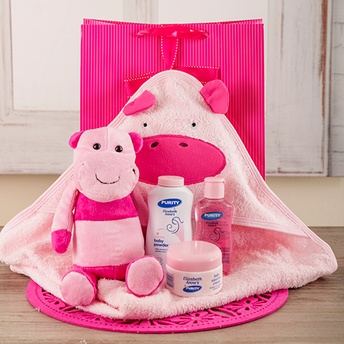 baby: Baby Girl Hippo Bath Time Set!
