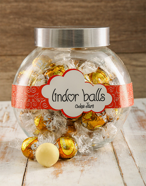 Buy White Lindt Chocolate Ball Candy Jar