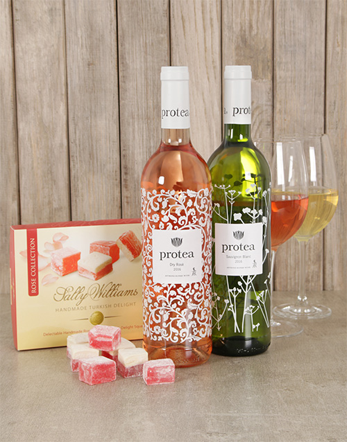 easter: Delightful Protea Wine And Sally Williams Set!
