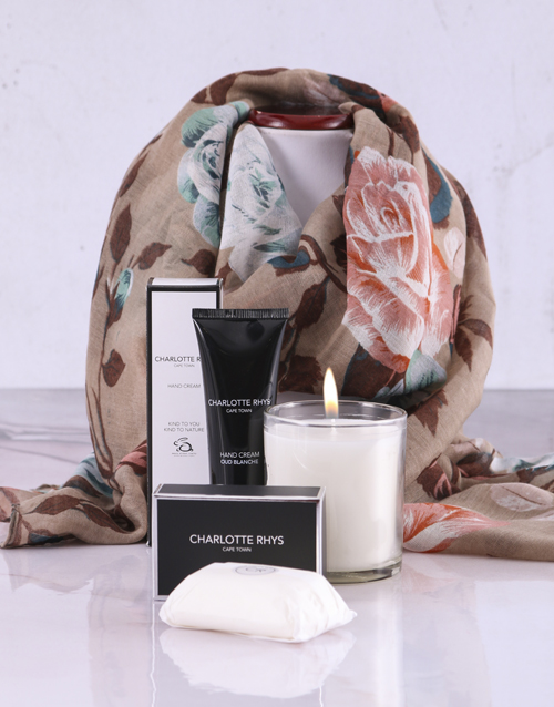 mothers-day: Charlotte Rhys Pamper Box And Beige Floral Scarf!
