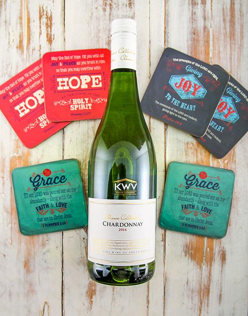 faith: Chardonnay and Coasters Gift Set!