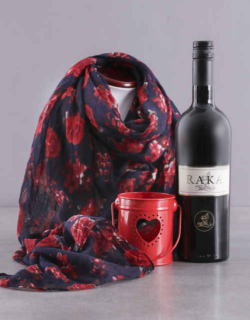 valentines-day: Red Polka Dot Scarf and Wine Gift!
