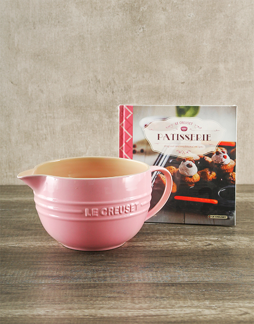 mothers-day: Le Creuset Chiffon Pink Batter Bowl and Cookbook!