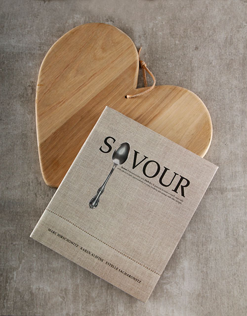 homeware: Savour Cookbook and Chopping Board Hamper!