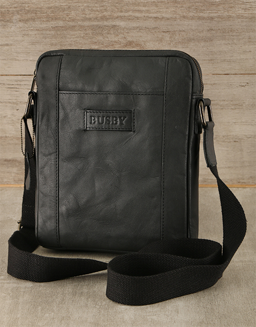 apparel: Black Busby Genuine Leather Cross Bag!