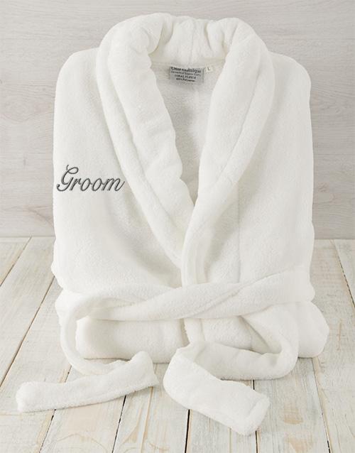 bath-and-body: Groom White Fleece Gown!