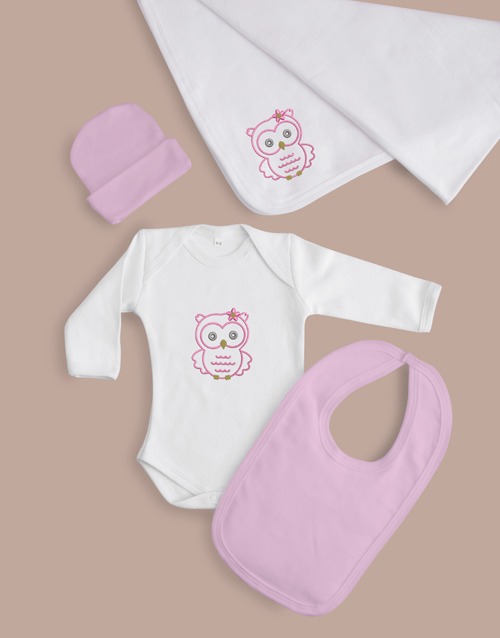 baby: Baby Girl Five Piece Owl Gift!