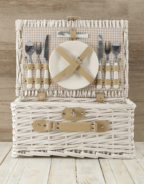 easter: Two Person White & Gold Picnic Basket!