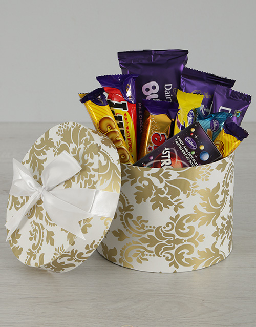 Chocolate Gift Boxes South Africa : Buy white and gold cadbury hat box netflorist