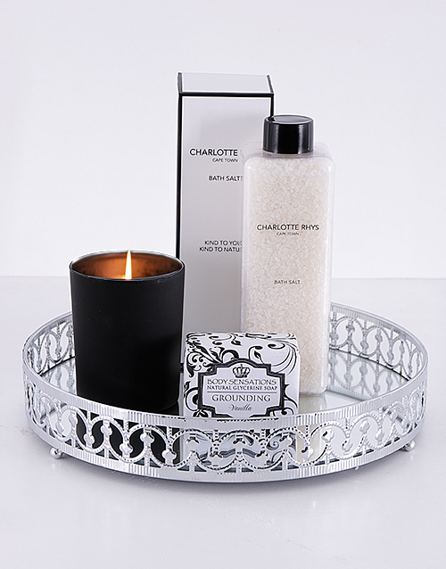 year-end: Silver Round Mirror Tray and Bath Gift Set!