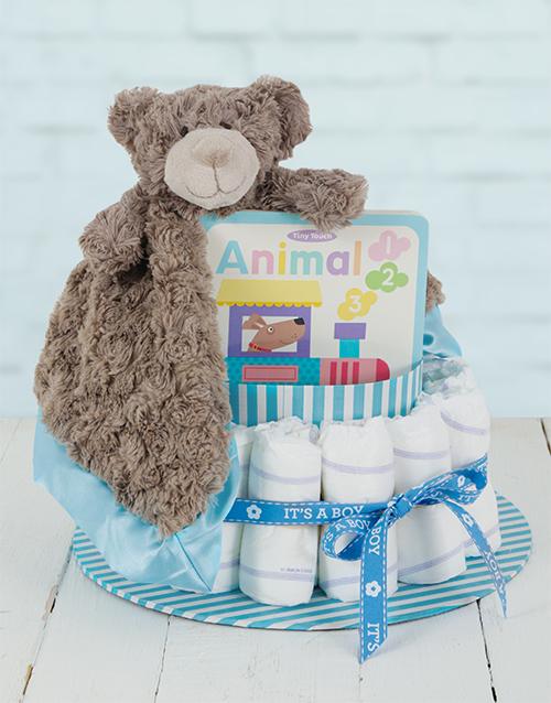 baby: Blue Cuddle Story Time Nappy Cake!