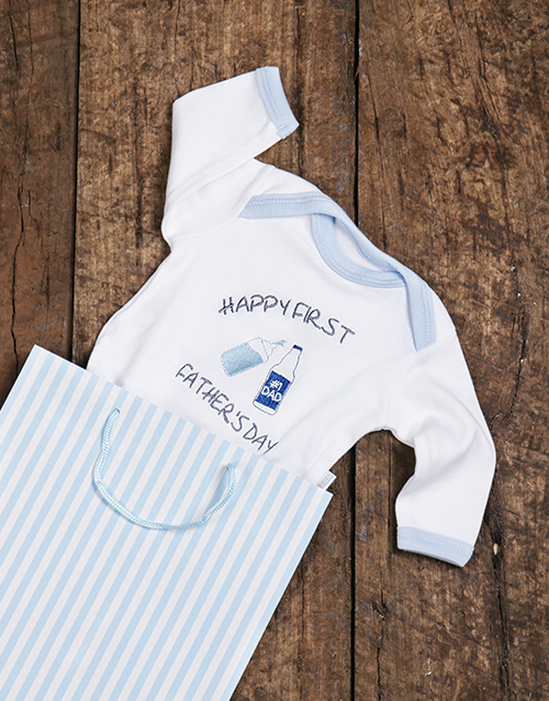 fathers-day: Happy First Fathers Day Blue Onesie!