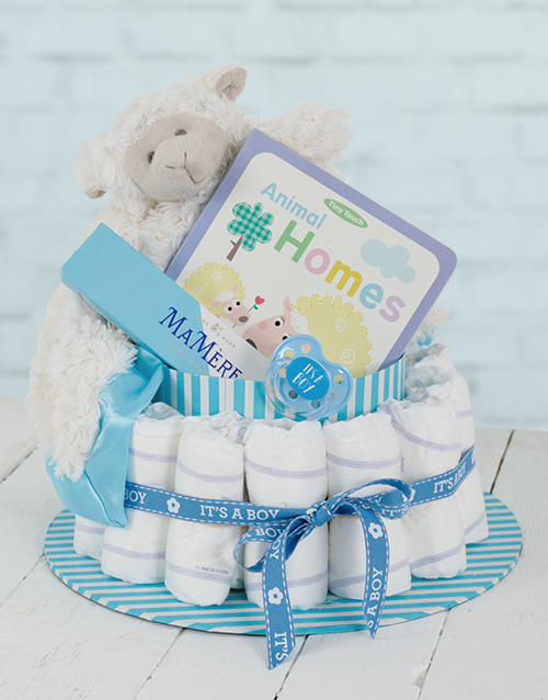 easter: Blue Baa Baa Baby and Mommy Nappy Cake!