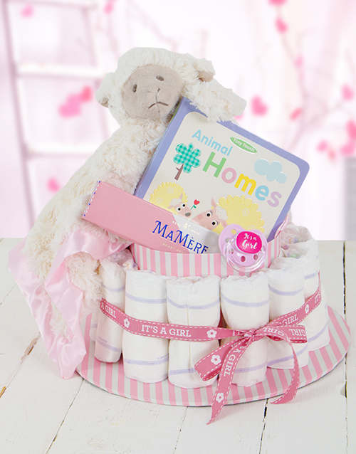easter: Pink Baa Baa Baby and Mommy Nappy Cake!