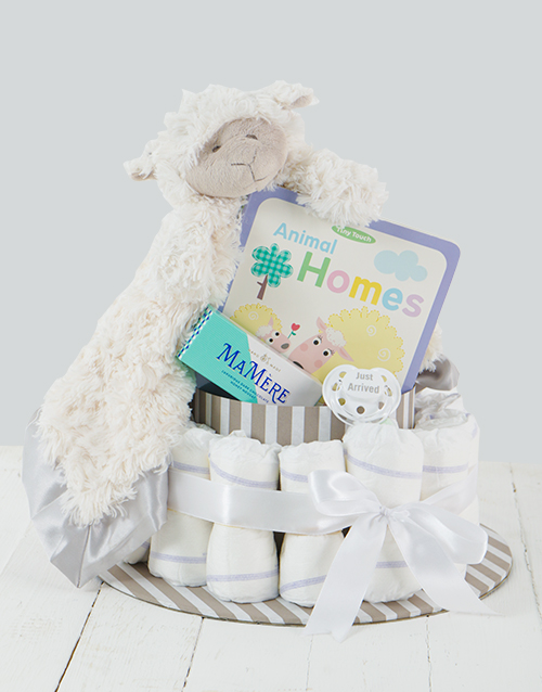 baby: Grey Baa Baa Baby and Mommy Nappy Cake!