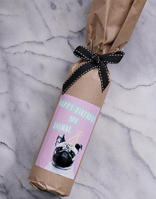fine-alcohol: Birthday Pug Wine in Craft Paper!