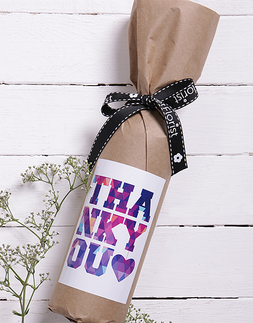 mothers-day: Thank You Wine in Craft Paper!