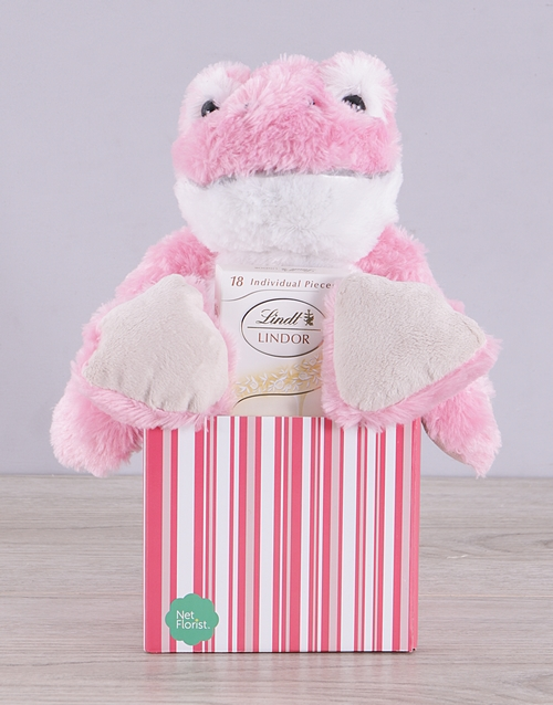teddy-bears: Pink Frog and White Lindt Box!