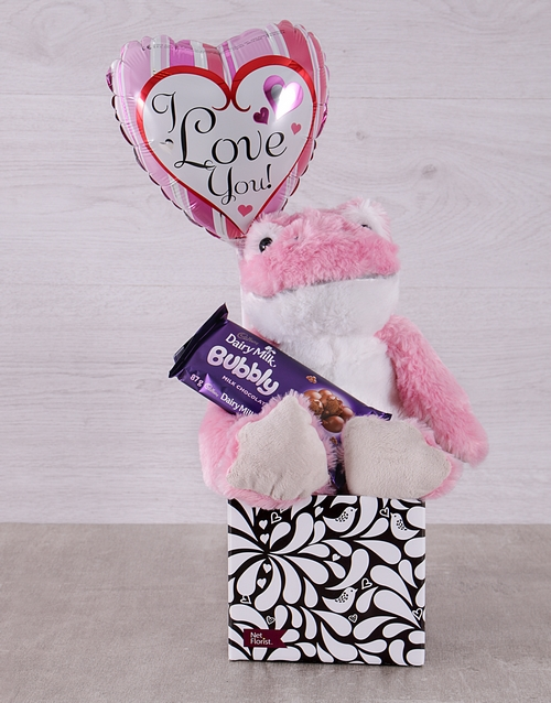 teddy-bears: Pink Love Frog and Bubbly Box!