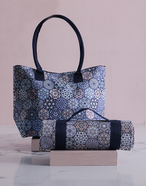 christmas: Blue Marrakesh Tote Bag With Mat!