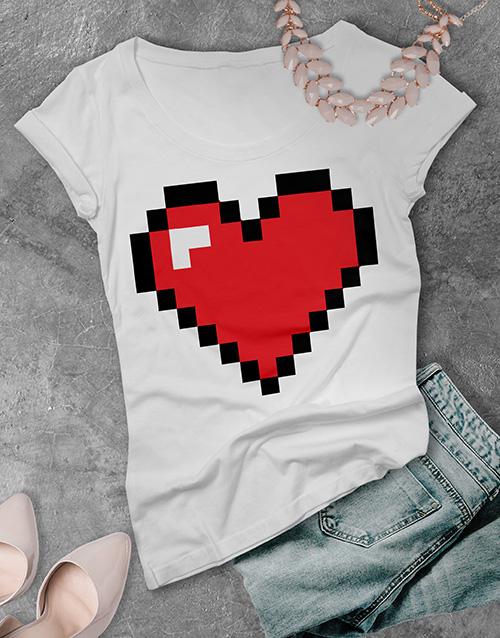 anniversary: Retro Gaming Heart Ladies T Shirt!