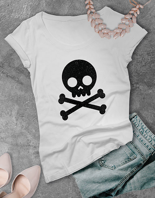 clothing: Black Glitter Skull Ladies T Shirt !