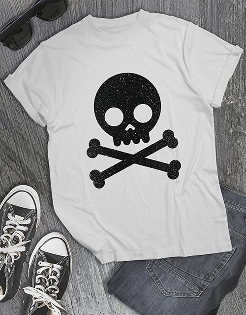 personalised: Black Glitter Skull T Shirt !