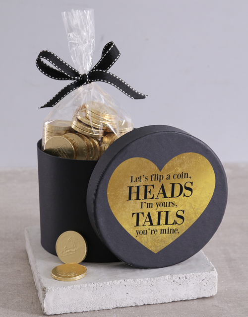 personalised: Flip A Choc Coin Hat Box!