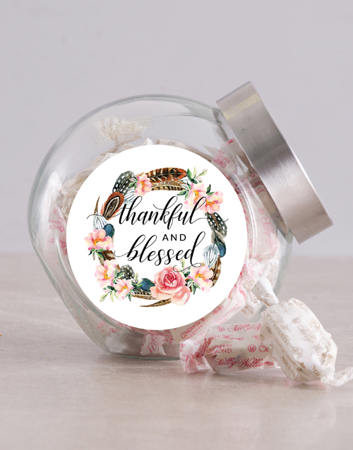 christmas: Thankful and Blessed Candy Jar!