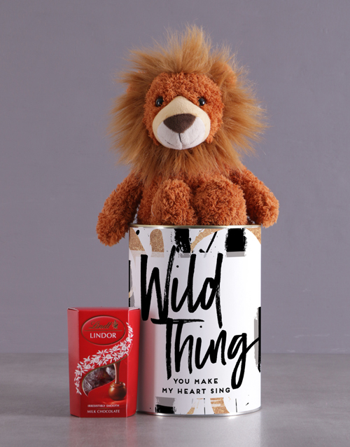 teddy-bears: Wild Lion Tin Hamper!