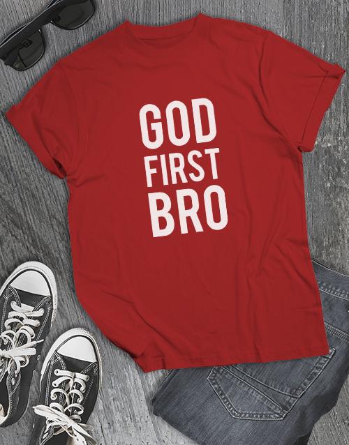 clothing: God First Bro Christian Shirt!