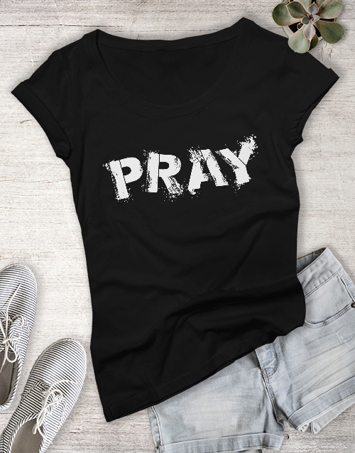 clothing: Ladies Pray Christian Shirt!