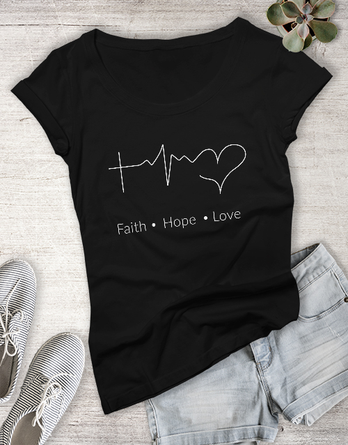 clothing: Ladies Faith Hope Love Christian Shirt!
