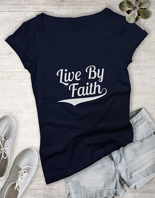 personalised: Ladies Live By Faith Christian Shirt!
