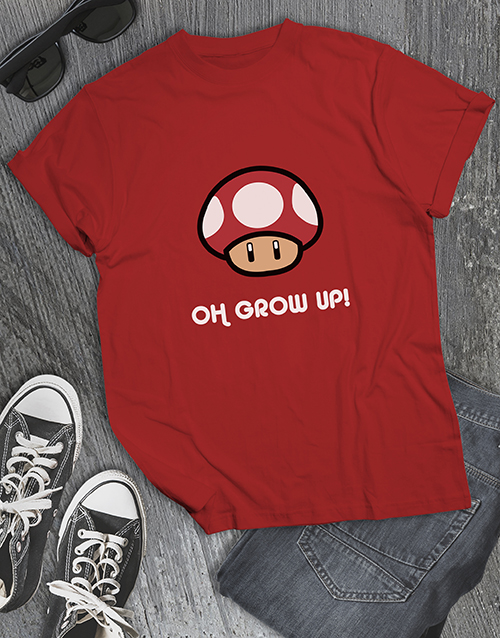 clothing: Grow Up Mushroom Gaming Tshirt!