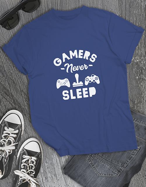 clothing: Gamers Never Sleep Tshirt!