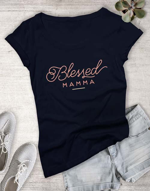 mothers-day: Feminine Blessed Mama Ladies T Shirt!