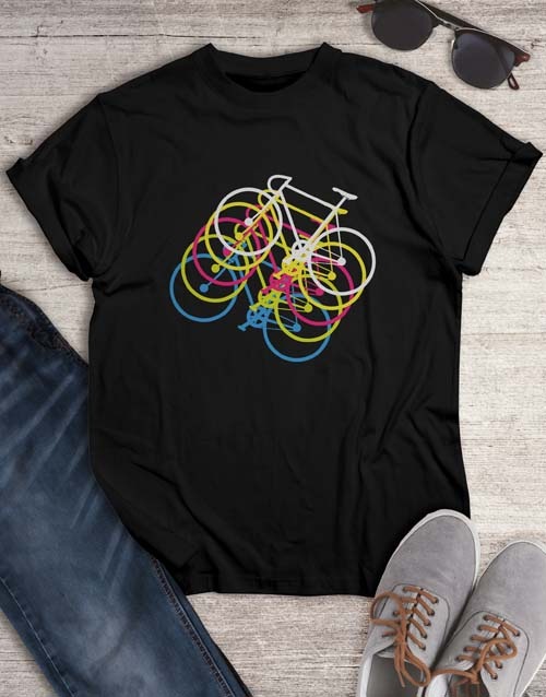 clothing: Colourful Bicycle Graphic T Shirt!