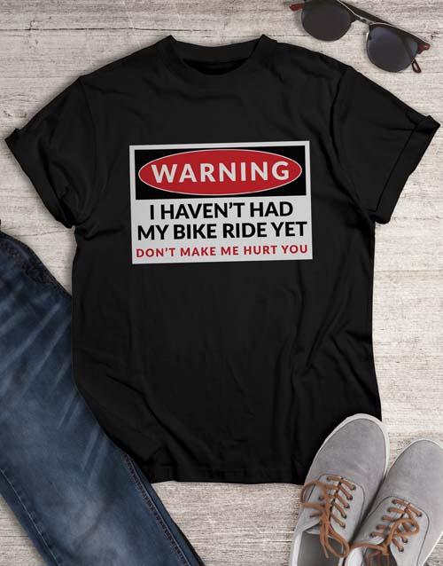 personalised: Warning Bike Ride T Shirt!