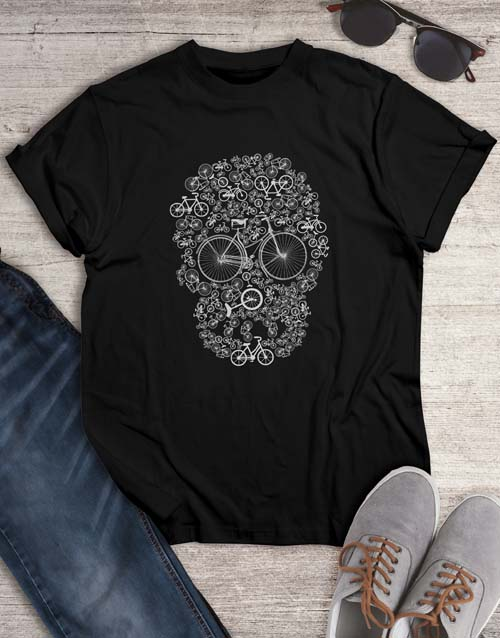 clothing: Skull Bicycle Graphic T Shirt!