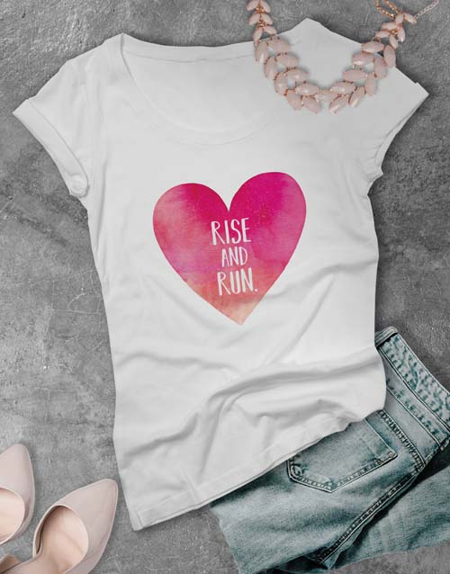 clothing: Rise and Run Heart Ladies T Shirt!