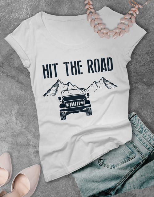 clothing: Ladies Hit the Road Jeep T Shirt!