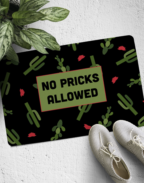 personalised: No Pricks Allowed Doormat!