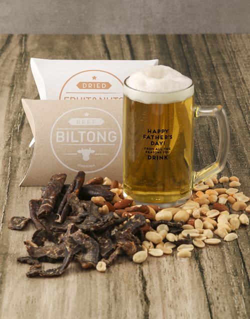 fathers-day: Happy Fathers Day Biltong Nuts and Beer Glass Gift!