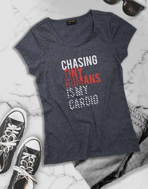 clothing: Chasing Tiny Human Ladies T Shirt!