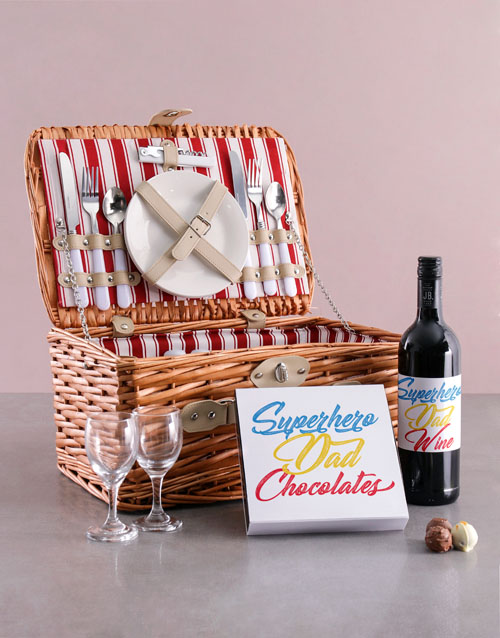 fathers-day: Superhero Dad Wine And Basket Combo!