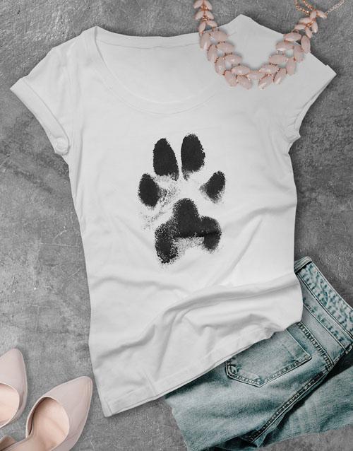 personalised: Dusty Paw Print Ladies T Shirt!